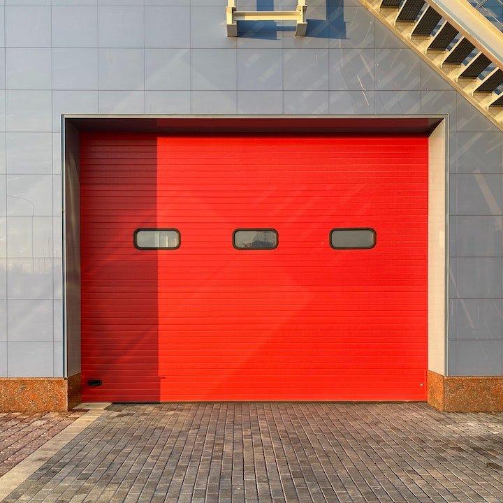 Commercial Garage Door red