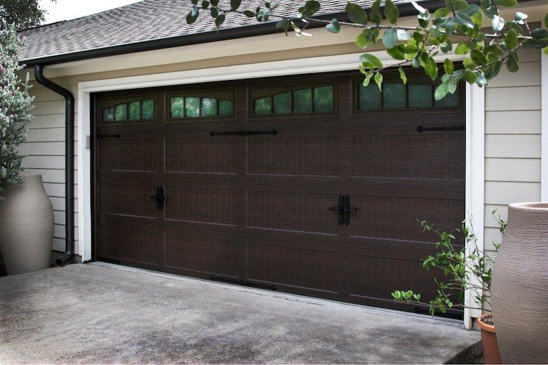 Residential Garage Door-Dark Stain 2-Hutchins Garage Doors