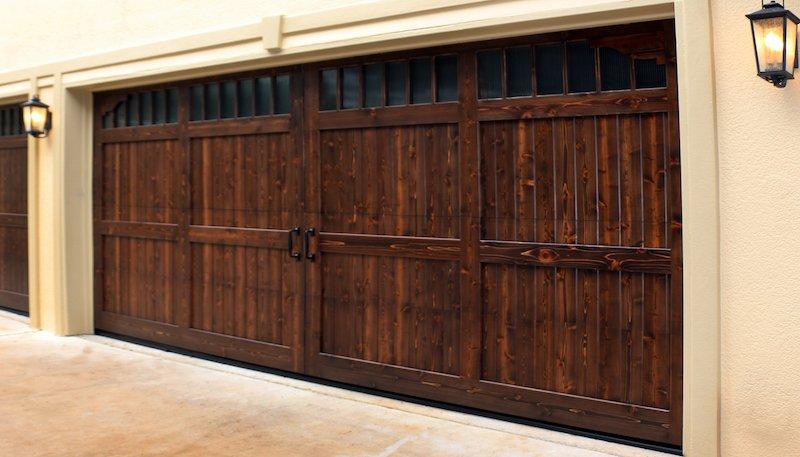 Residential Garage Door-Dark Stain-Hutchins Garage Doors